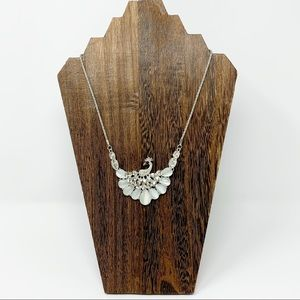 Silver Tone Necklace With Peacock Pendant